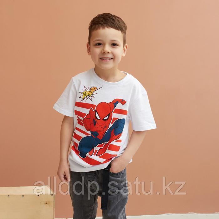 Футболка детская Человек-Паук, рост 110-116, белый