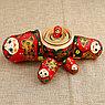 Матрёшка «Хохлома», красный платок, 5 кукольная, 17 см, фото 4