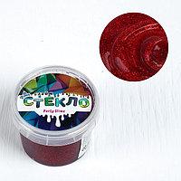 Слайм «Стекло»с эффектом мерцания драгоценных камней рубин (красный) 100 г