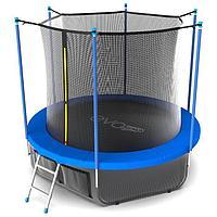 Батут EVO JUMP Internal, d=244 см, с териленовой сеткой и лестницей + нижняя сеть, цвет синий 305 см