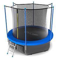 Батут EVO JUMP Internal, d=244 см, с териленовой сеткой и лестницей + нижняя сеть, цвет синий 366 см