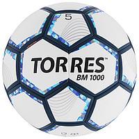 Мяч футбольный TORRES BM 1000, размер 5, 32 панели, мягкий PU, термосшивка, цвет белый/серебряный/си ...