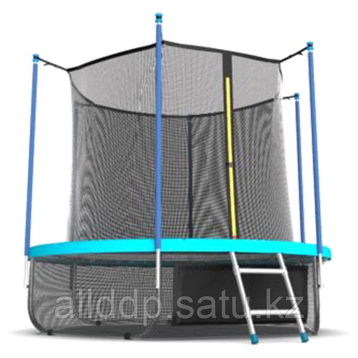 Батут EVO JUMP Internal, d=244 см, с териленовой сеткой и лестницей + нижняя сеть, цвет морская волн ... - фото 3