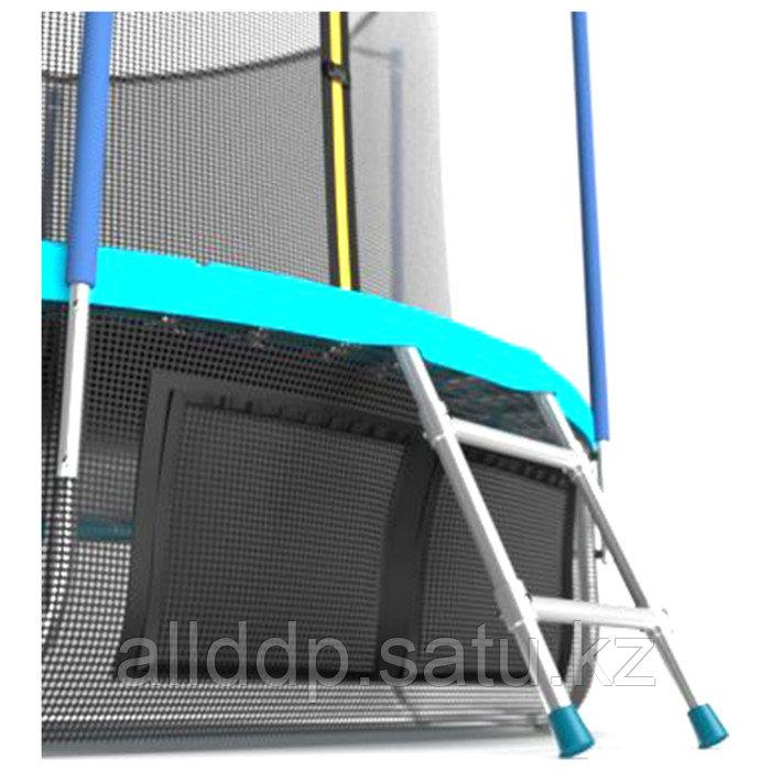 Батут EVO JUMP Internal, d=244 см, с териленовой сеткой и лестницей + нижняя сеть, цвет морская волн ... - фото 4