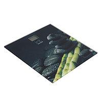 """Весы напольные Irit IR-7259, электронные, до 180 кг, 2хААА, стекло, рисунок """"сладкие сердца"""" Бамбук и камни"""