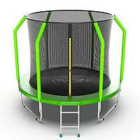 Батут EVO JUMP Cosmo, d=244 см, с внутренней защитной сеткой и лестницей, цвет зелёный