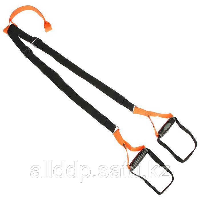 Петли для подвесного тренинга TORRES, эргономические нескользящие ручки, цвет черный/оранжевый - фото 1