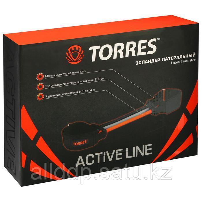Эспандер латеральный TORRES, 29 см, три шнура, сопротивление 9 - 34 кг, манжеты на липучках - фото 2