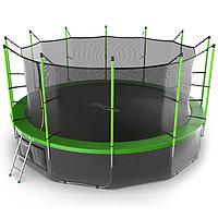 Батут EVO JUMP Internal, d=488 см, с внутренней защитной сеткой и лестницей + нижняя сеть, цвет зелё ...