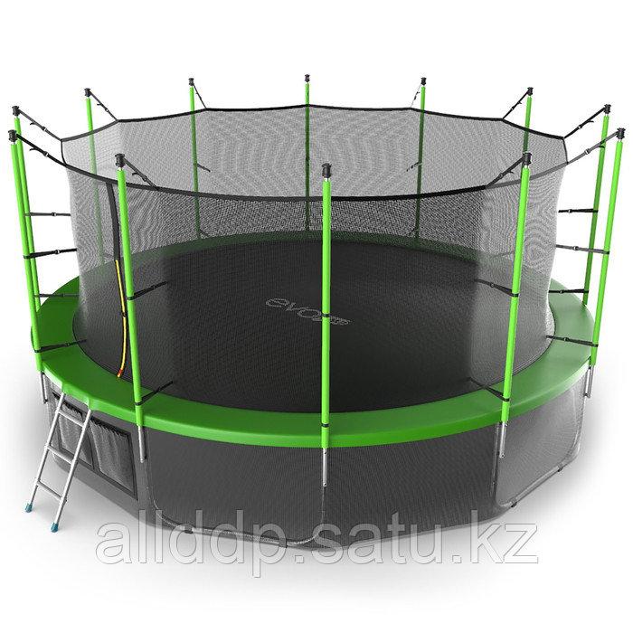 Батут EVO JUMP Internal, d=488 см, с внутренней защитной сеткой и лестницей + нижняя сеть, цвет зелё ... - фото 1