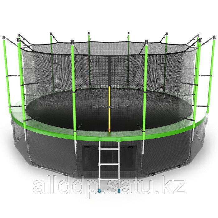 Батут EVO JUMP Internal, d=488 см, с внутренней защитной сеткой и лестницей + нижняя сеть, цвет зелё ... - фото 2