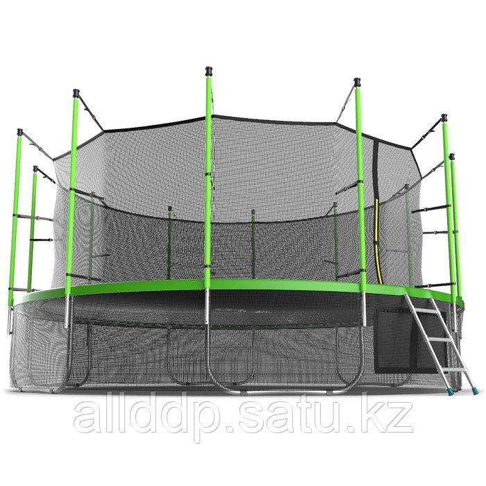 Батут EVO JUMP Internal, d=488 см, с внутренней защитной сеткой и лестницей + нижняя сеть, цвет зелё ... - фото 3