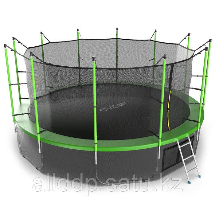 Батут EVO JUMP Internal, d=488 см, с внутренней защитной сеткой и лестницей + нижняя сеть, цвет зелё ... - фото 5