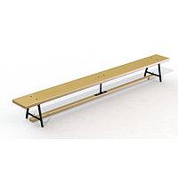 Скамейка гимнастическая деревянная 2,5 м, металлические ножки 4 м