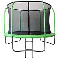 Батут SportElite, d=366 см, фиберглас, с внутренней защитной сеткой и лестницей, цвет салатовый