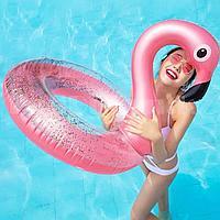 Надувной круг Фламинго с блестками 90 см