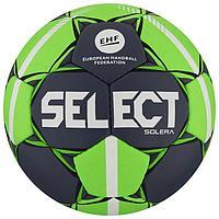 Мяч гандбольный SELECT Solera, Senior, размер 3, EHF Appr, ПУ, ручная сшивка, цвет серый/лайм