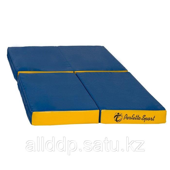 Мат PERFETTO SPORT, 100 х 100 х 10 см, складной, 4 сложения, синий/жёлтый