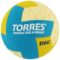Мяч волейбольный TORRES Dig, размер 5, синтетическая кожа (ТПЕ), клееный, бутиловая камера, горчично ...