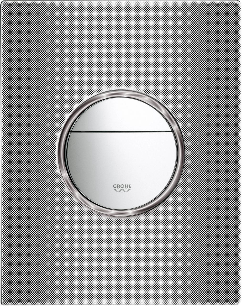 Панель смыва для унитаза GROHE Nova Cosmopolitan Print (3 режима смыва), хром/черная графика (38847XG0) - фото 3