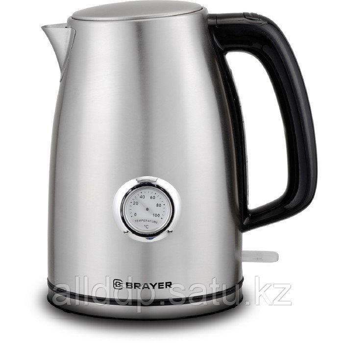Чайник электрический BRAYER 1022BR, металл, 1.7 л, 2150 Вт, термометр, серебристый