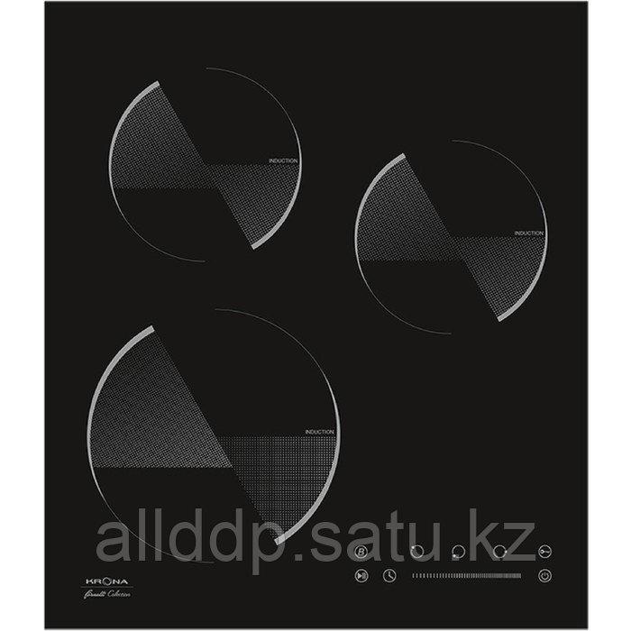 Варочная поверхность KRONA OMBRA 45 BL, индукционная, 3 конфорки, сенсор, чёрная