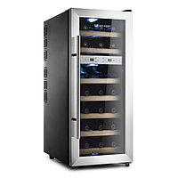 Винный шкаф Kitfort КТ-2406, 140 Вт, 7 полок, 60 л, 21 бутылка, 2 климатические зоны