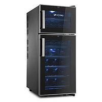 Винный шкаф Kitfort КТ-2407, 140 Вт, 7 полок, 60 л, 21 бутылка, 2 климатические зоны