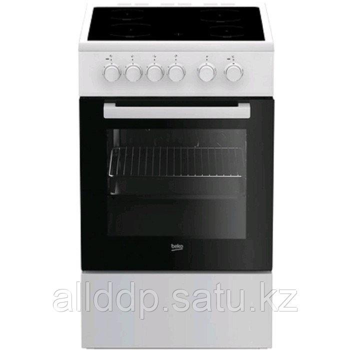 Плита Beko FSS 57000 GW, электрическая, 4 конфорки, 60 л, гриль, чёрно-белая