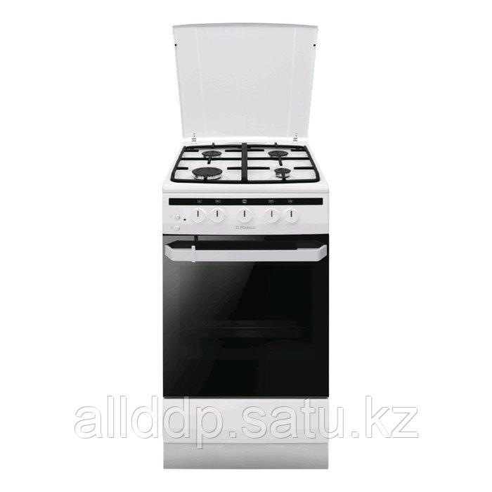 Плита Hansa FCGW52021, газовая, 4 конфорки, 56 л, газовая духовка, белая