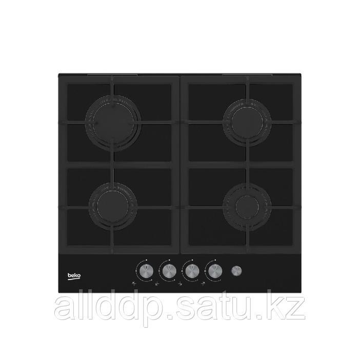 Варочная поверхность Beko HILG 64235 S, газовая, 4 конфорки, электроподжиг, черная