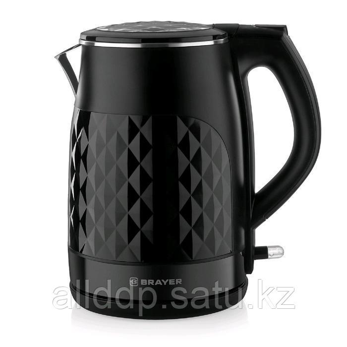 Чайник электрический BRAYER BR1043BK, металл, 1.7 л, 2200 Вт, автоотключение, чёрный