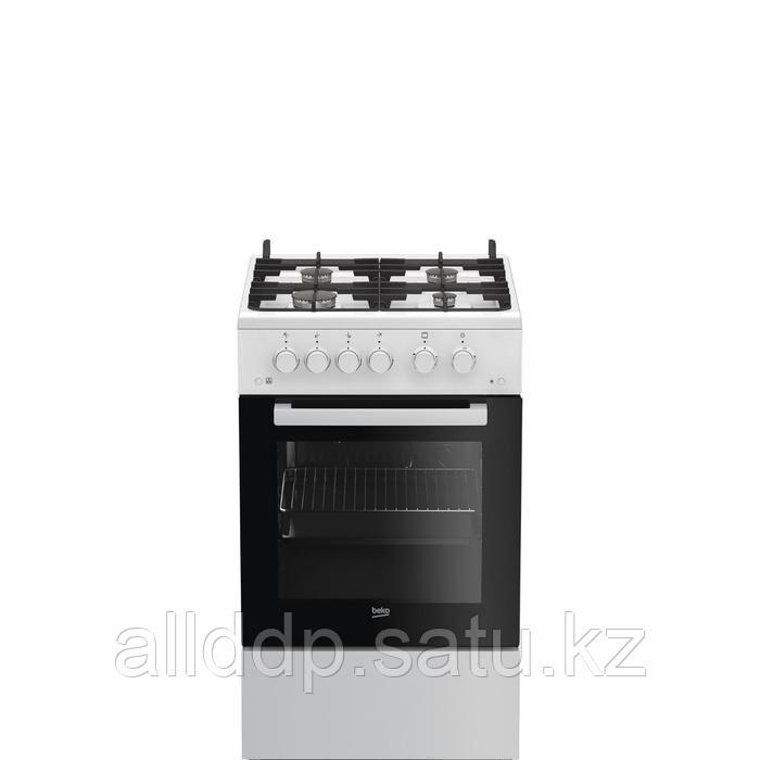 Плита Beko FSGT52115GW, газовая, 4 конфорки, 55 л, газовая духовка, белая