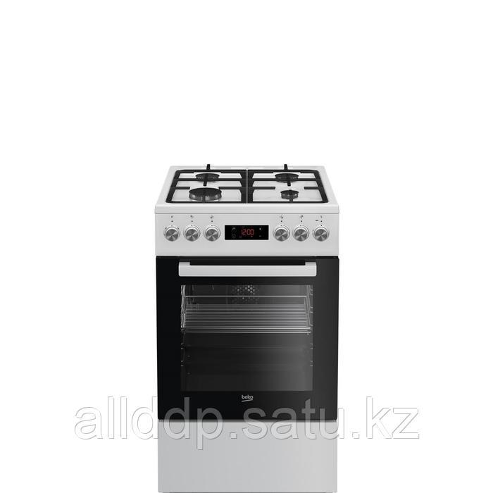 Плита Beko FSM52332DWDS, комбинированная, 4 конфорки, 60 л, электрическая духовка, белая