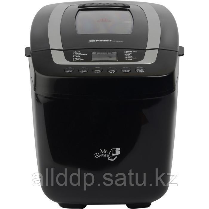 Хлебопечь FIRST FA-5152-2, 800 Вт, 12 программ, до 1.25 кг, выбор цвета корочки, чёрная
