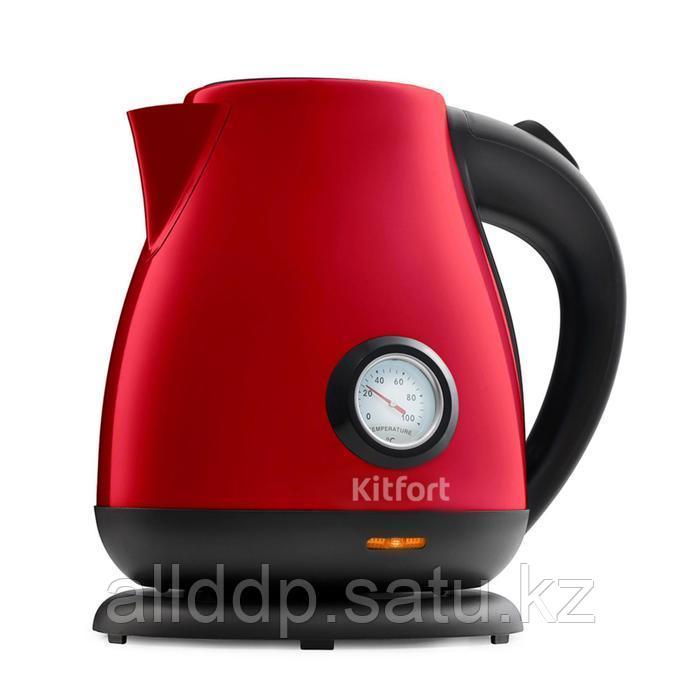 Чайник Kitfort КТ-642-5, металл, 1.7 л, 2200 Вт, 4 режима нагрева, красный