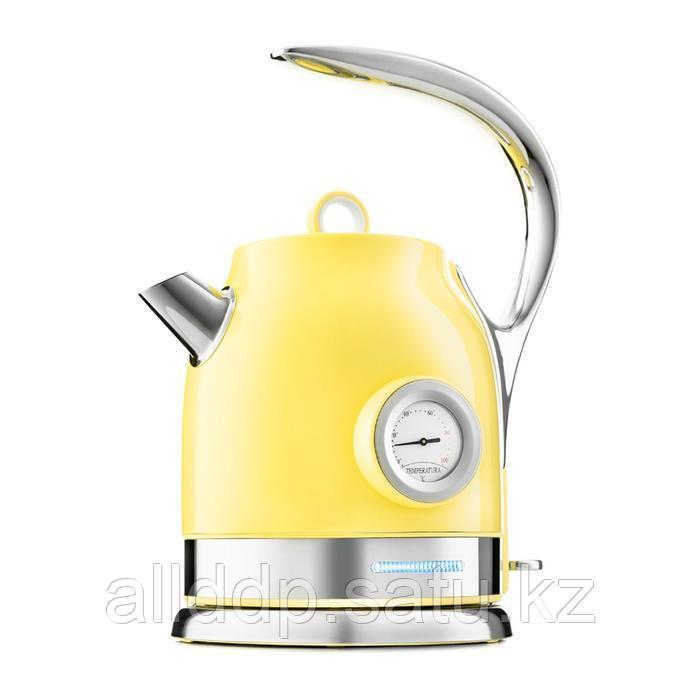 Чайник Kitfort КТ-694-3, металл, 1.7 л, 2200 Вт, жёлтый