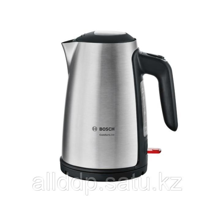Чайник электрический Bosch TWK6A813, металл, 1.7 л, 2400 Вт, серебристый