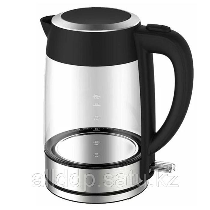 Чайник электрический Midea MK 8002, стекло, 1.7 л, 2200 Вт, подсветка, серебристо-чёрный