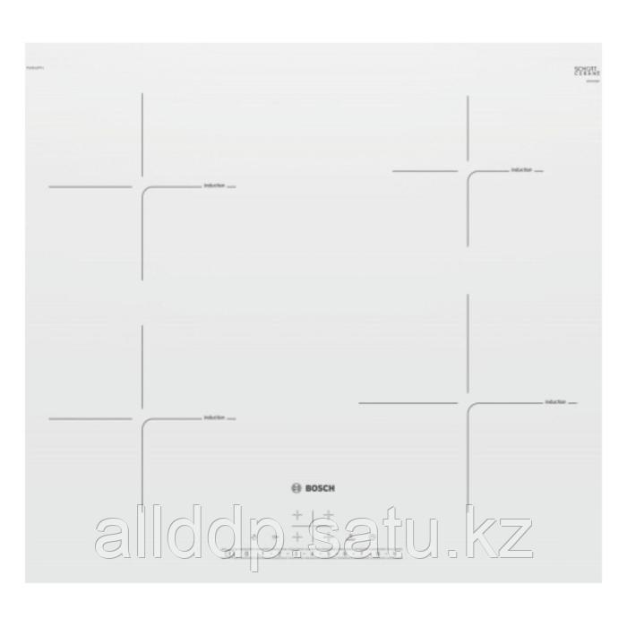 Варочная поверхность Bosch PUE612FF1J, индукционная, 3000 Вт, 4 конфорки, сенсор, белая