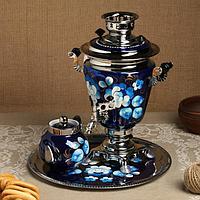 Набор «Жостово на синем», рюмка, 3 предмета, самовар 3 л, заварочный чайник 0,7 л, поднос