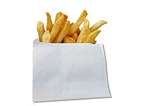 Бумажный пакет с плоским дном 140*90*40 белый для фри