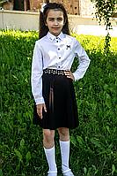 Детская для девочек осенняя хлопковая белая деловая блуза Elod 0721028 128-60р.