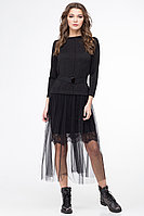 Женское осеннее трикотажное черное нарядное платье Линия Л Б-1706 чёрный 48р.