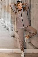 Женский осенний трикотажный бежевый спортивный спортивный костюм GO F3009/04-03.170-176 46р.