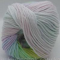 Пряжа для вязания Bella batik (Белла батик) Белый-лимон-салат-светло сиреневый 2132