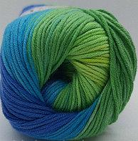 Пряжа для вязания Bella batik (Белла батик) Синий-голубой-зеленый 4150
