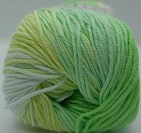 Пряжа для вязания Bella batik (Белла батик) Белый-лимонный-салат 2131