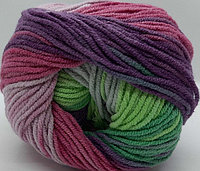 Пряжа для вязания Cotton Gold Batik (Коттон Голд Батик) темно розовый-фиолетовый-салат 4147