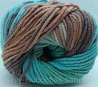 Пряжа для вязания Cotton Gold Batik (Коттон Голд Батик) Светлая бирюза-медь-коричневый 4603